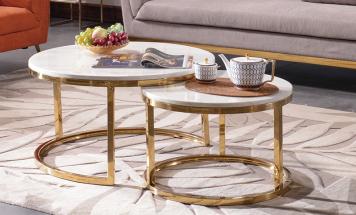 Okrúhly mramorový stolík