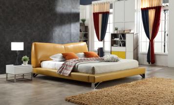 Moderná kožená posteľ R2D1327