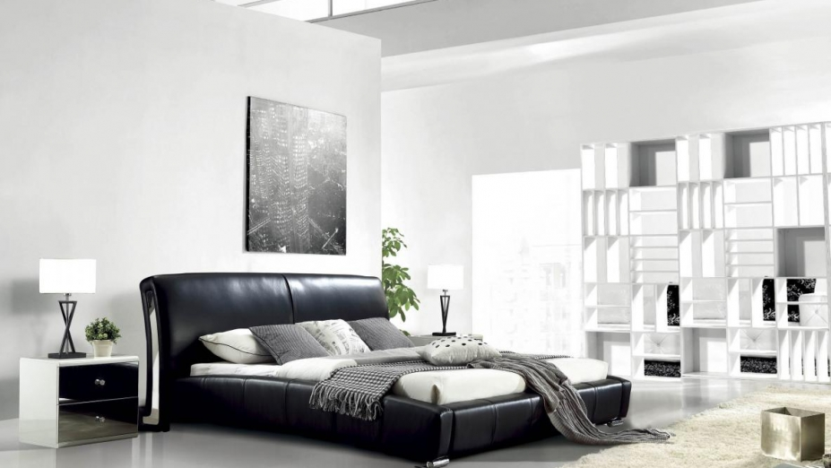 Čierna kožená posteľ R2D1339
