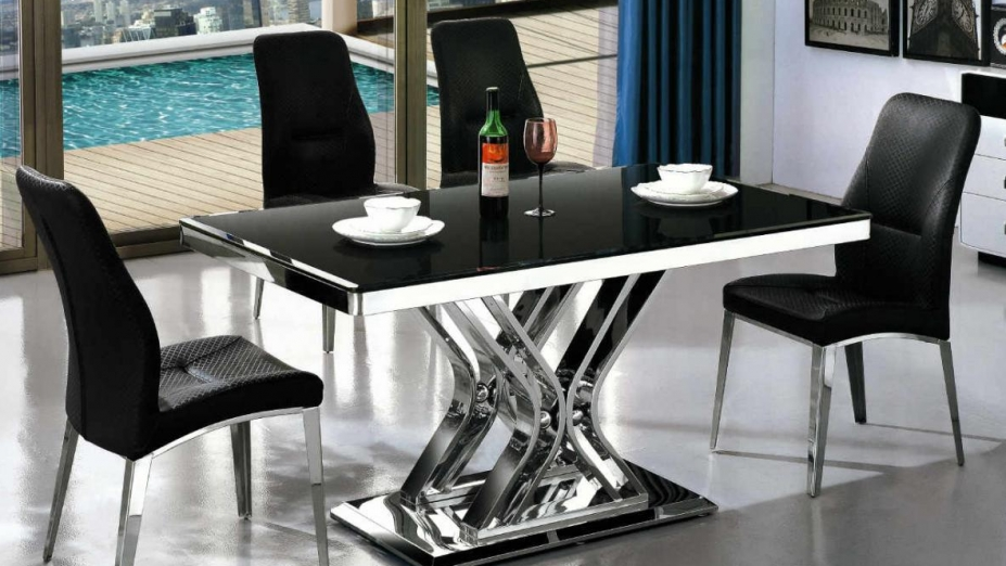 R2D1226 stôl s čiernym sklom