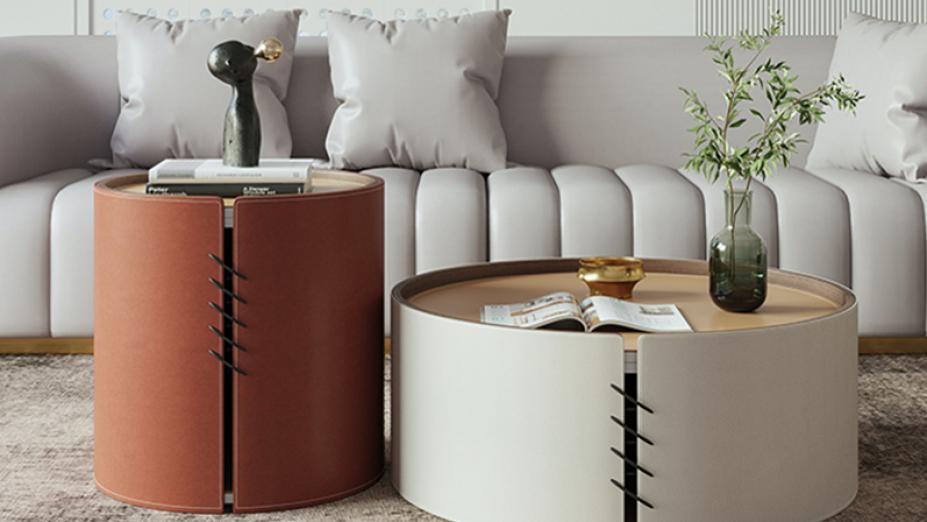 R2D1269 kožený stolík