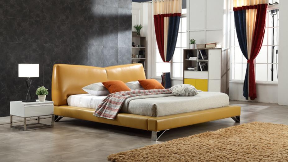 R2D1327 moderná kožená posteľ